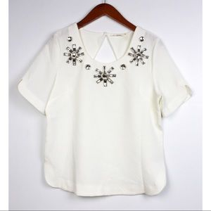 BLU PEPPER Size Medium Jeweled Short Sleeve Blouse